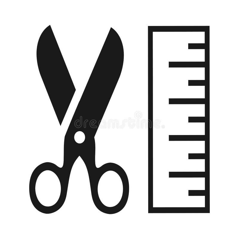 Nożyce i linia - wektor ilustracji