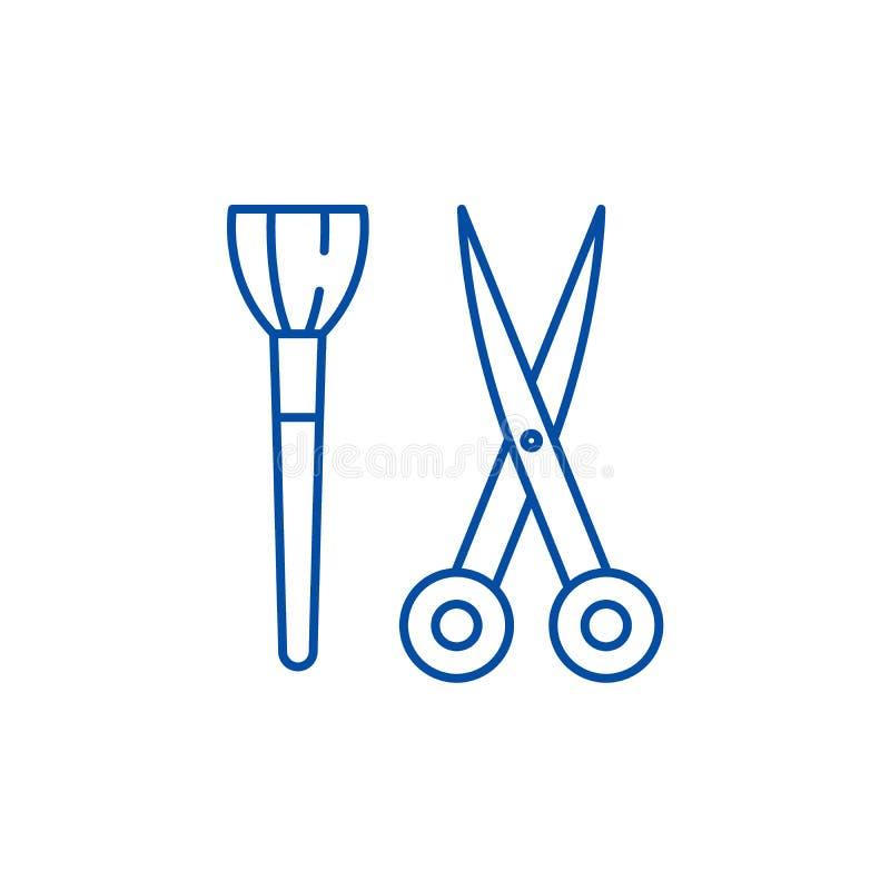 Nożyce i visagiste muśnięcia linii ikony pojęcie Nożyce i visagiste szczotkarski płaski wektorowy symbol, znak, kontur ilustracji