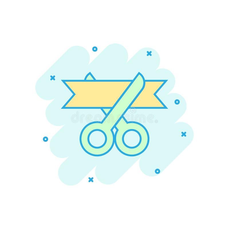Nożyce ikona w komiczka stylu Tnąca tasiemkowa wektorowa kreskówki ilustracja na białym odosobnionym tle Ceremonialny biznesowy p royalty ilustracja
