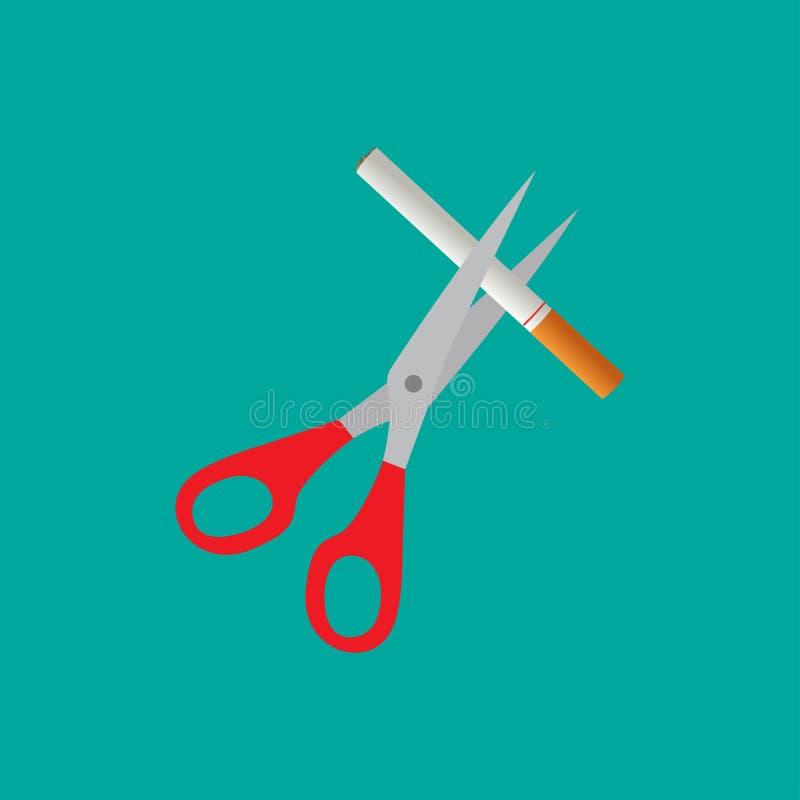 Nożyce ikona z cigarete ilustracji
