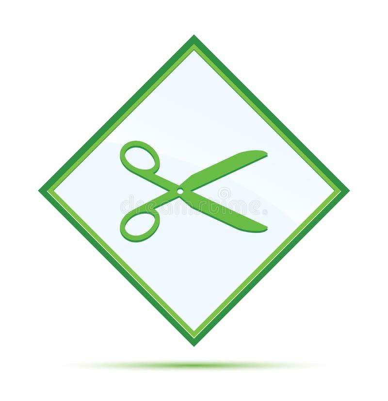 Nożyce ikony abstrakta nowożytnej zieleni diamentowy guzik ilustracji