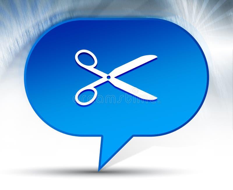 Nożyce ikony bąbla błękitny tło ilustracji