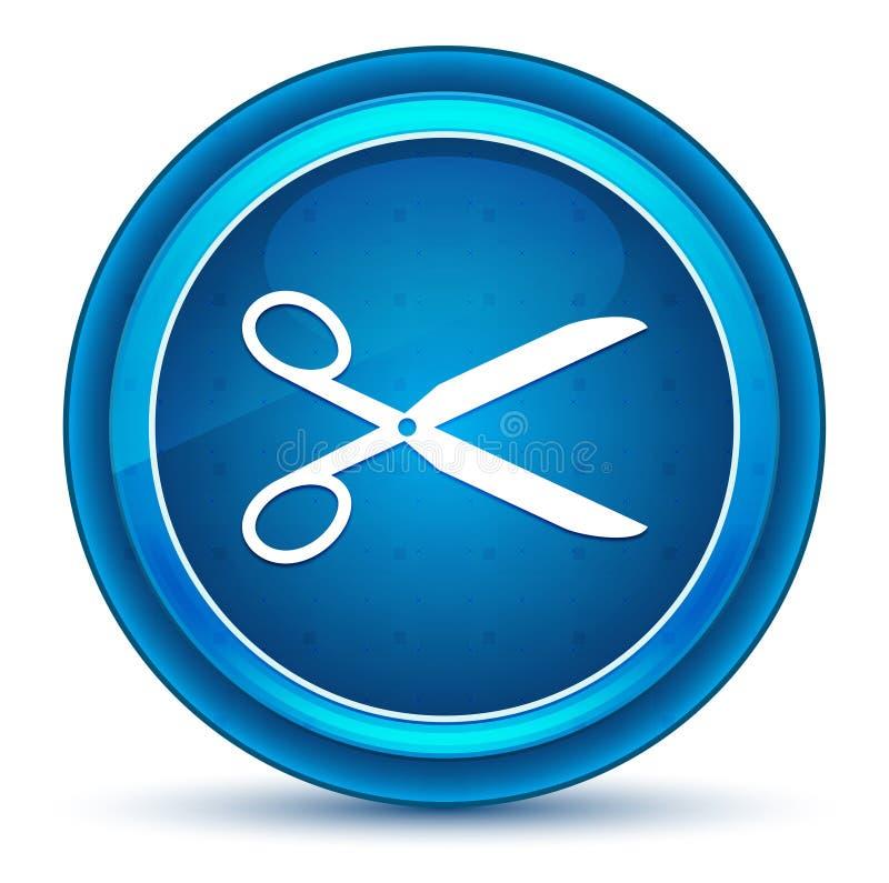 Nożyce ikony gałki ocznej round błękitny guzik ilustracja wektor