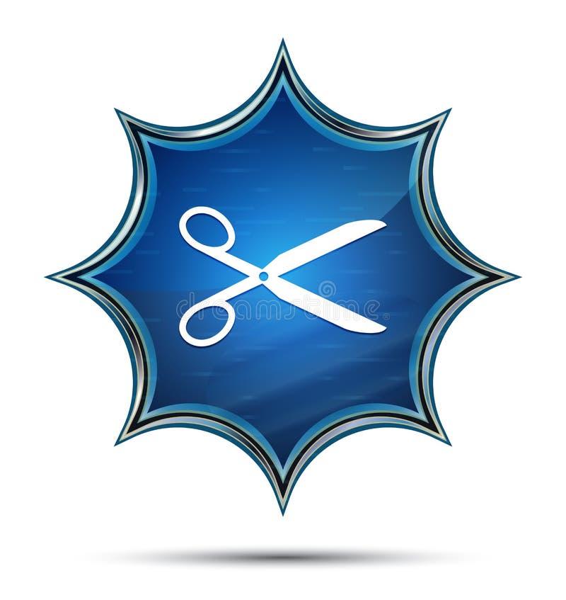 Nożyce ikony magiczny szklisty sunburst błękitny guzik royalty ilustracja