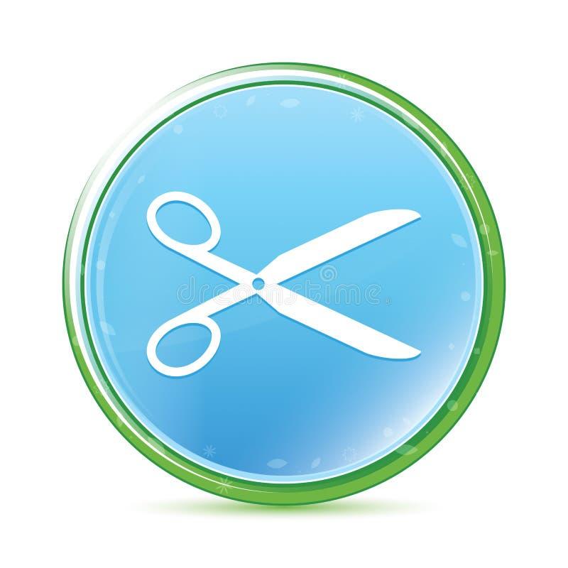 Nożyce ikony naturalnego aqua round cyan błękitny guzik royalty ilustracja
