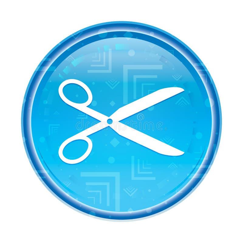 Nożyce ikony round kwiecisty błękitny guzik royalty ilustracja