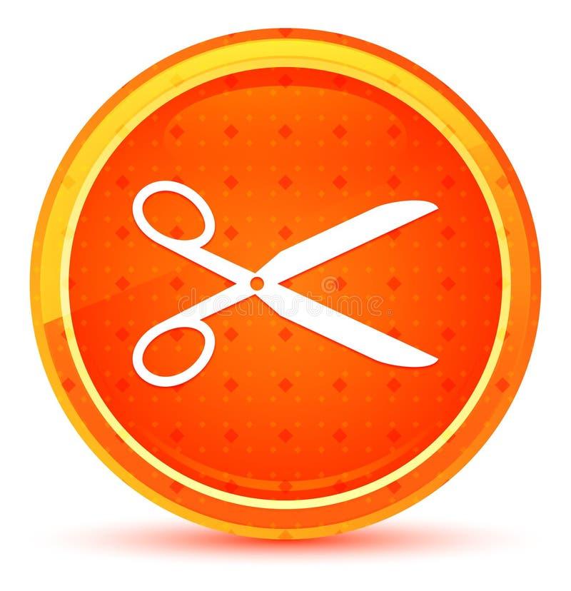 Nożyce ikony round naturalny pomarańczowy guzik ilustracja wektor