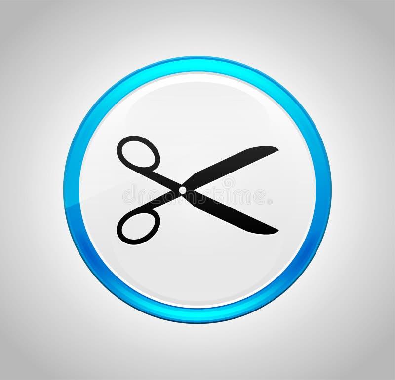 Nożyce ikony round pchnięcia błękitny guzik ilustracji