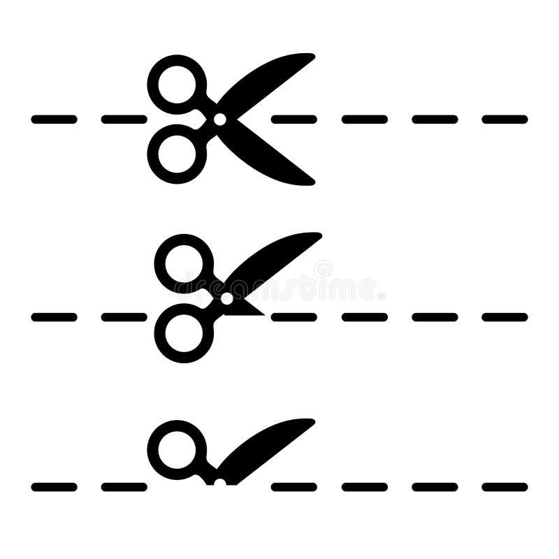 Nożyce ikony set, talonowy rabatowy znak - wektor ilustracji
