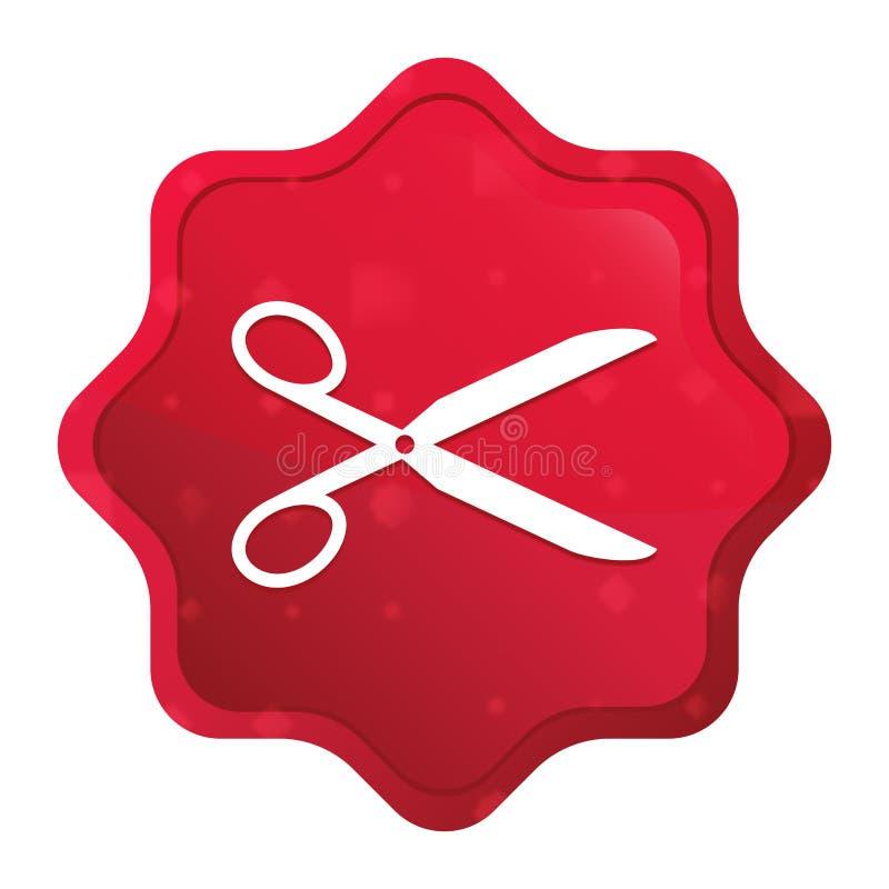 Nożyce ikony starburst majcheru mglisty różany czerwony guzik royalty ilustracja