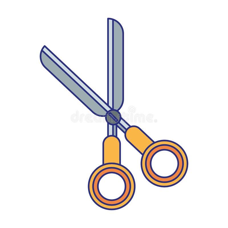 Nożyce uczą kogoś naczynie odizolowywać symbol niebieskie linie ilustracja wektor