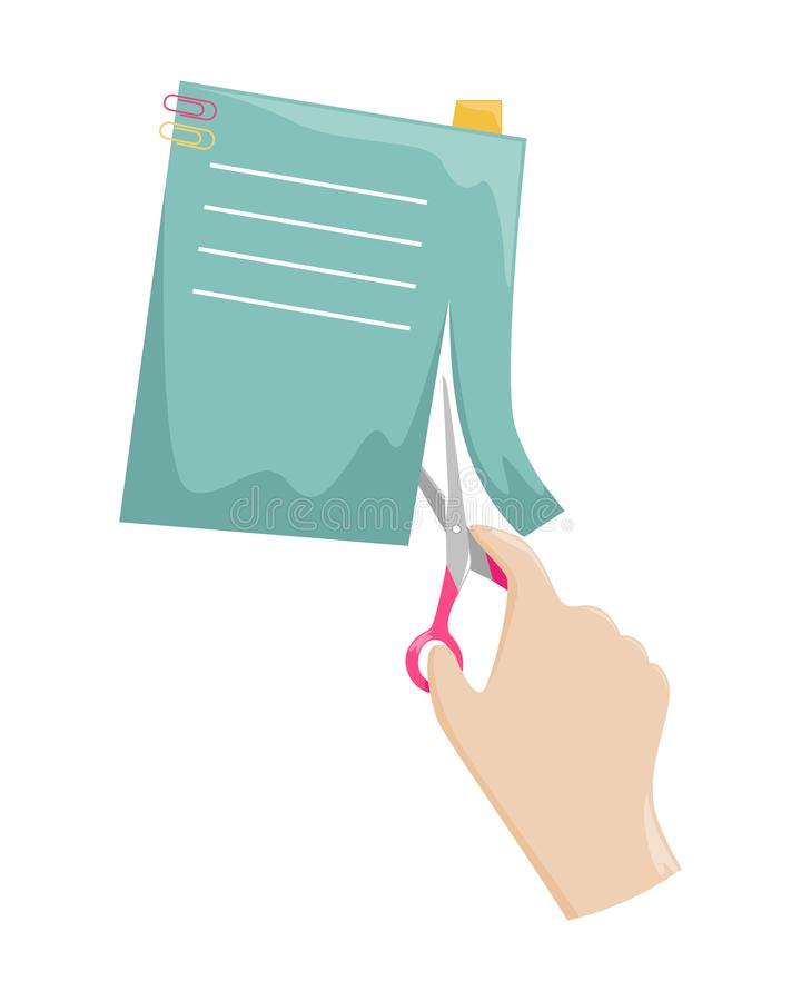 Nożyce w kobiety ręce cią papier lub reklamę Hobby i papierowi rzemiosła ilustracji