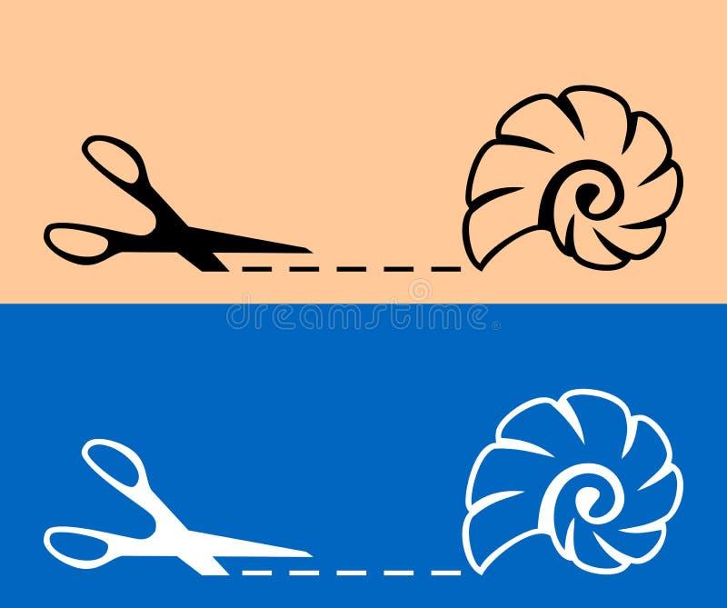 Nożyce z cięcia cockle i linią łuskają ikonę royalty ilustracja