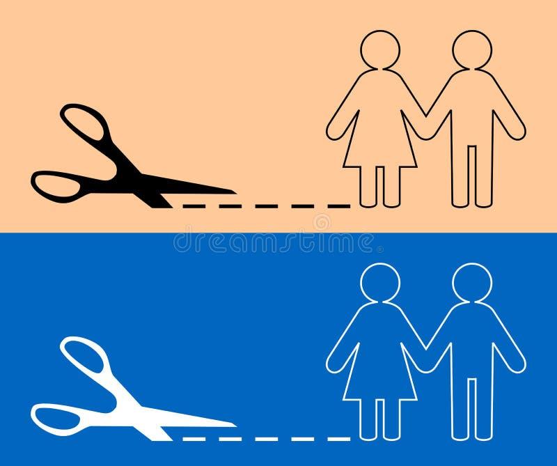 Nożyce z cięcie linią i pary ikoną ilustracji