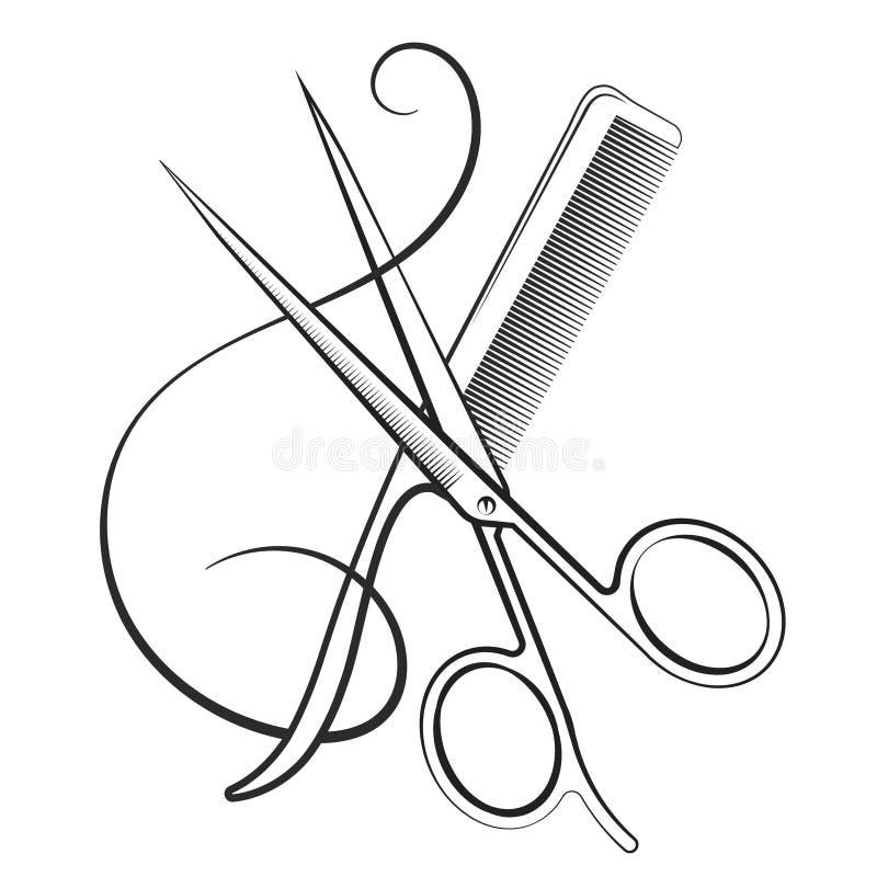 Nożyce z kędzioru włosy i gręplą royalty ilustracja