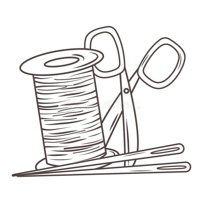 Nożycowa igła i nić krawczyny sklepu projekt ilustracji