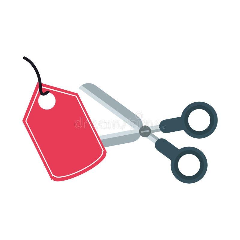 Nożycowa tnąca zakupy etykietka odizolowywająca ilustracji