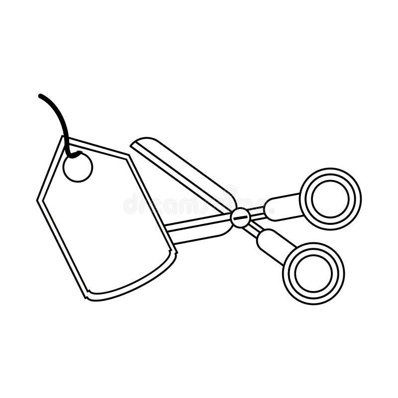 Nożycowa tnąca zakupy etykietka odizolowywająca w czarny i biały royalty ilustracja