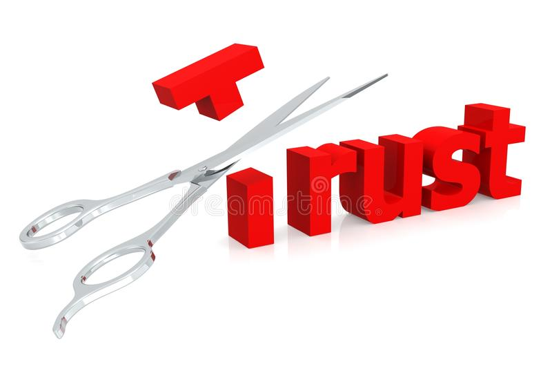 Nożycowy i zaufaniu ilustracja wektor