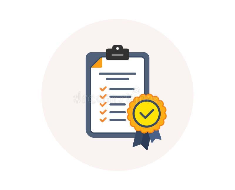 No ícone da conformidade Sinal da lista de verificação Símbolo certificado do documento A empresa passou a inspeção Vetor ilustração do vetor