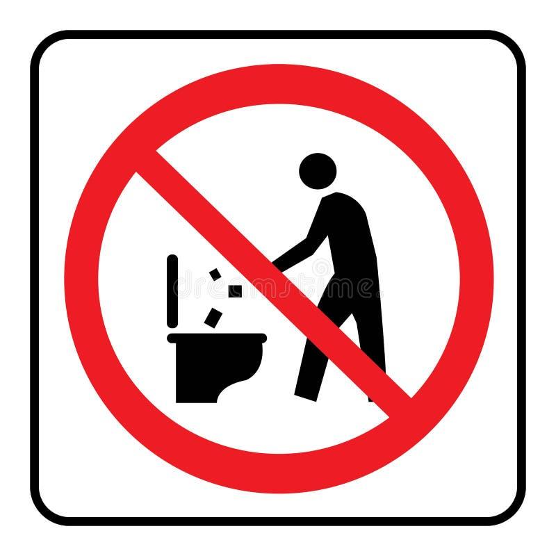 No śmieci wewnątrz toaletowa ikona royalty ilustracja
