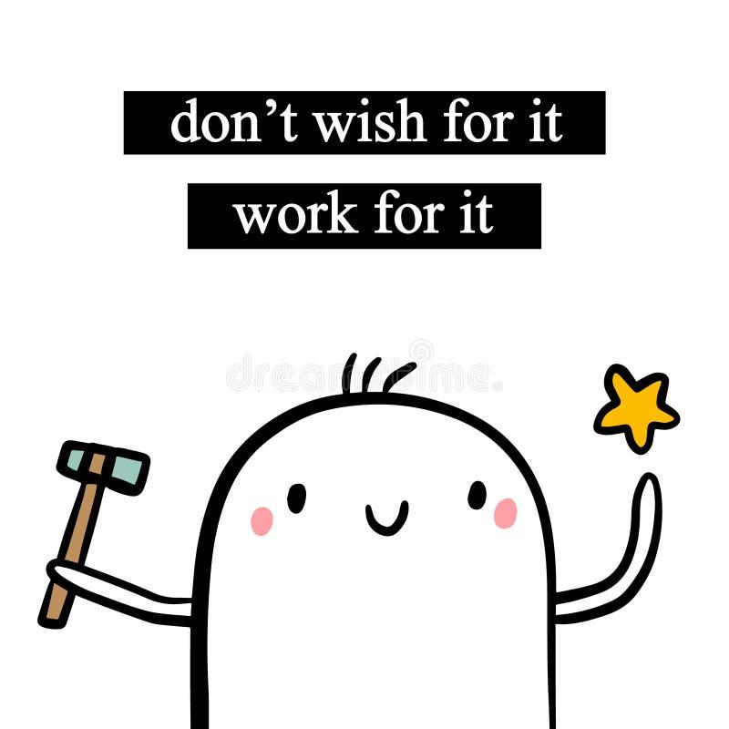 No życzy dla mnie pracy ręka rysującej ilustracji z ślicznym marshmallow ilustracji