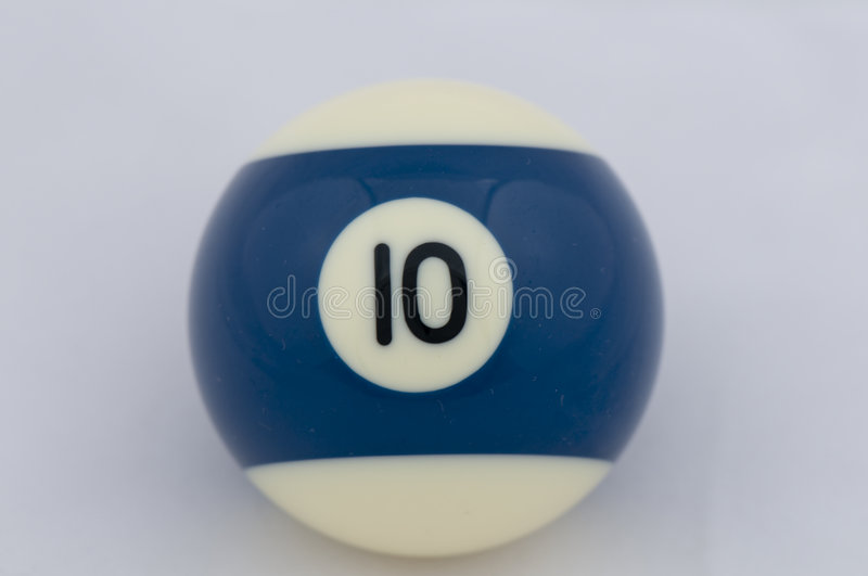 No 10 Pool Ball. A number ten (10) stripe bright blue and white pool ball made from phenolic resin. The real life size of the ball is 2 royalty free stock photography
