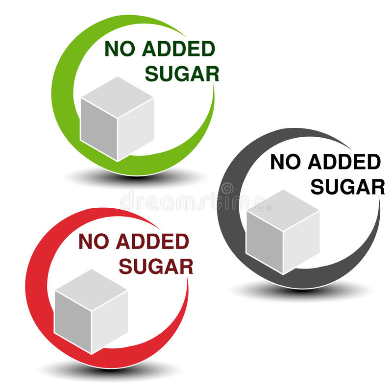 No added sugar symbols on white background. Silhouettes cube of sugar in a circle with shadow. vector illustration
