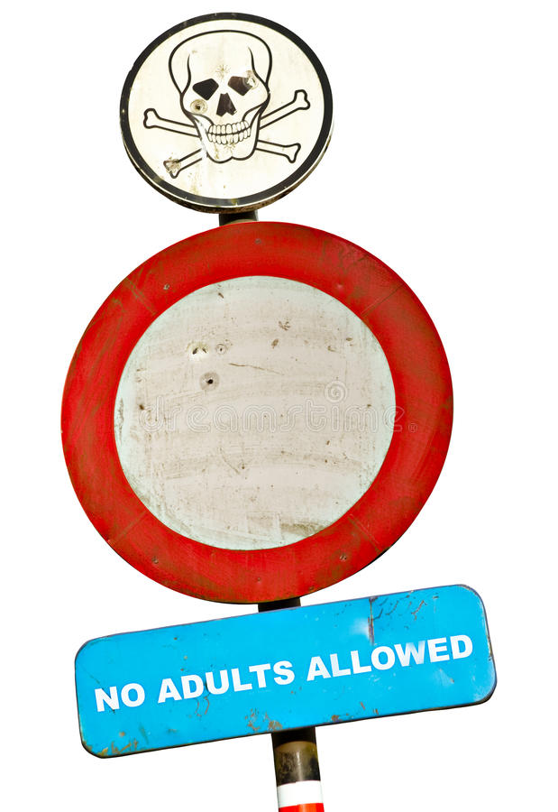 Download No adults allowed sign stock image. Image of constraint - 11473645