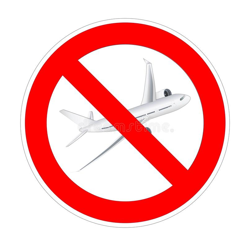 No airplane, plane, aircraft forbidden sign, red prohibition symbol royalty free illustration
