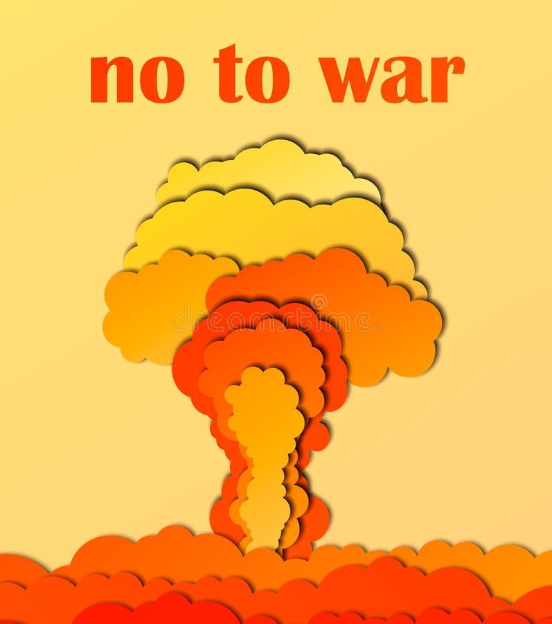 No al cartel de la guerra Ráfaga de bomba atómica en desierto fondo del corte del papel del extracto 3d Plantilla del vector en l ilustración del vector