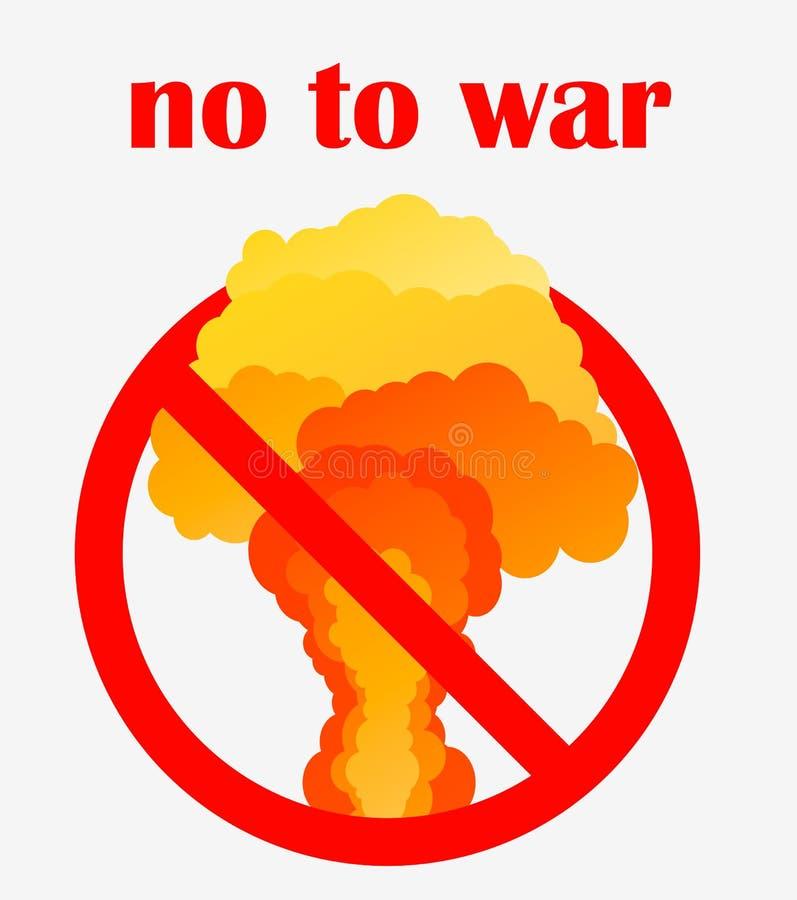 No al manifesto di guerra o al modello del segno Esplosione nucleare e centrale elettrica Vector il modello nello stile piano iso royalty illustrazione gratis