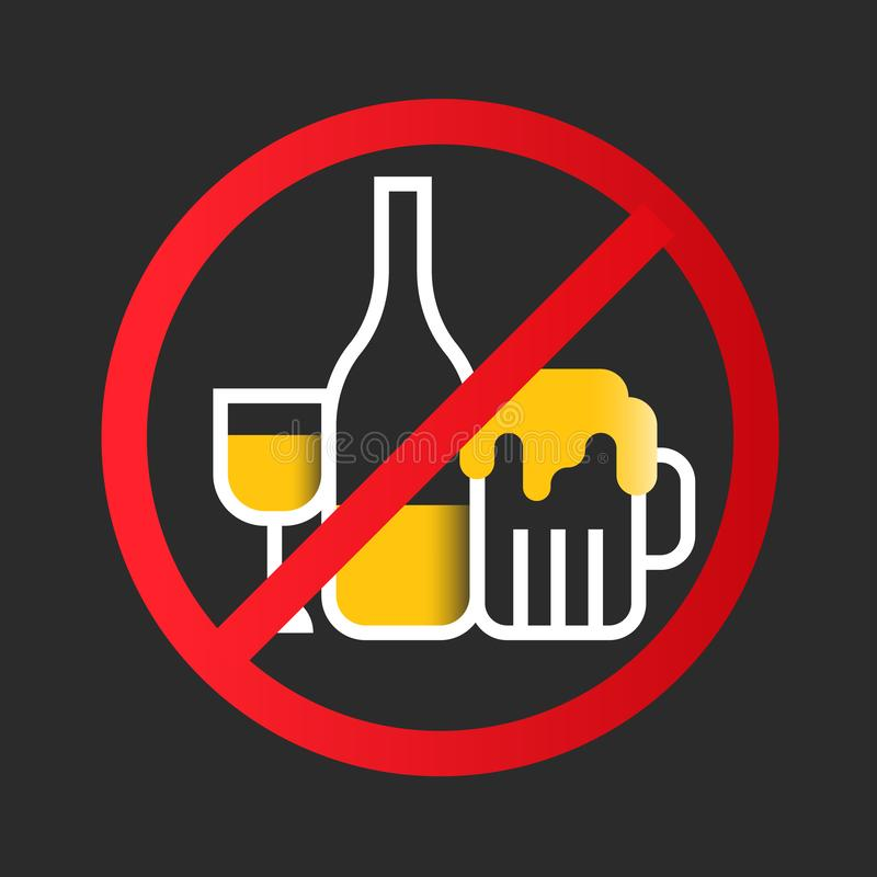 No alcohol icon sign with white yellow wine glass, Liquor bottle, Beer glass in red circle stop sign vector design stock illustration