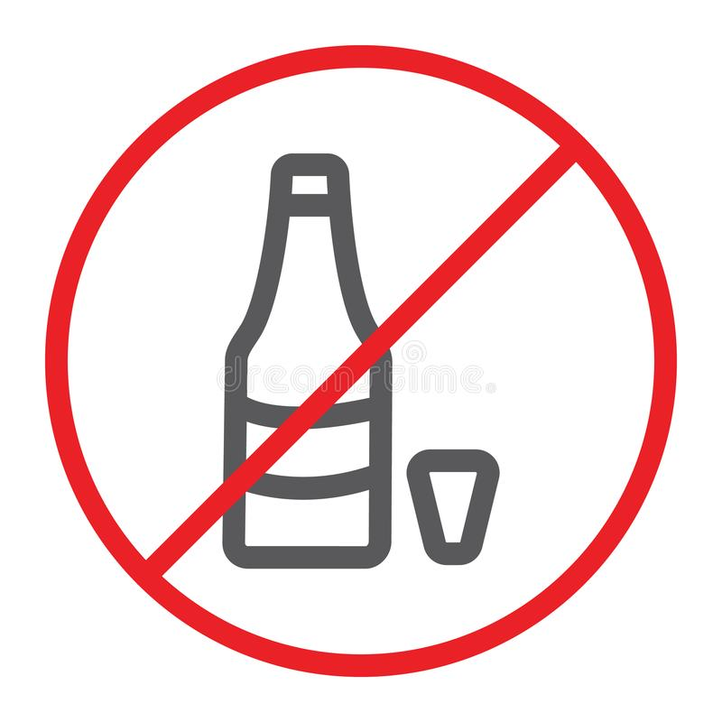 No alcohol line icon, prohibited and ban, no drink sign, vector graphics, a linear pattern on a white background. stock illustration
