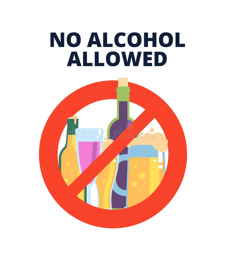 No alcohol sign. Alcoholic beverages, beer in red prohibition symbol. Stop alcoholism bad habits vector concept royalty free illustration