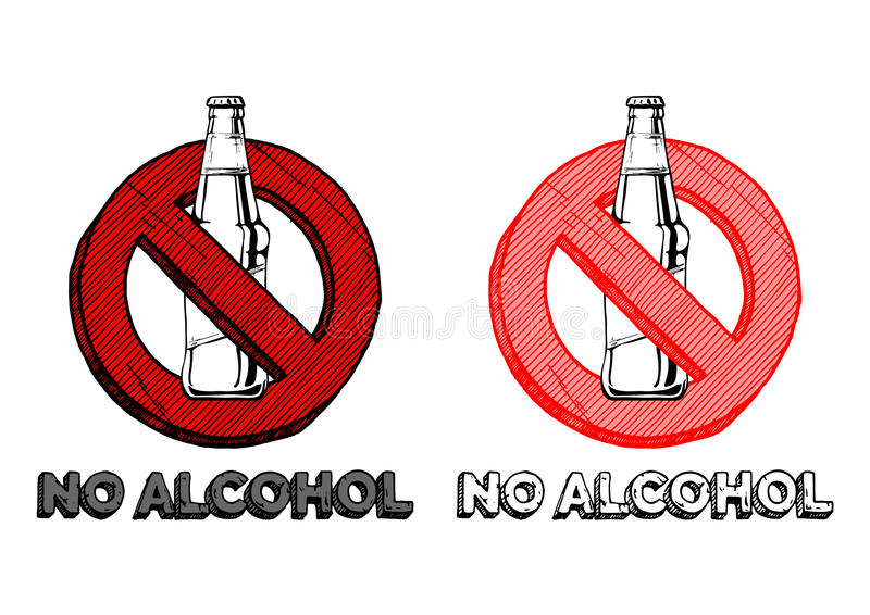 No alcohol sign. Set. Vector hand drawn illustration in vintage engraved style. isolated on white background stock illustration