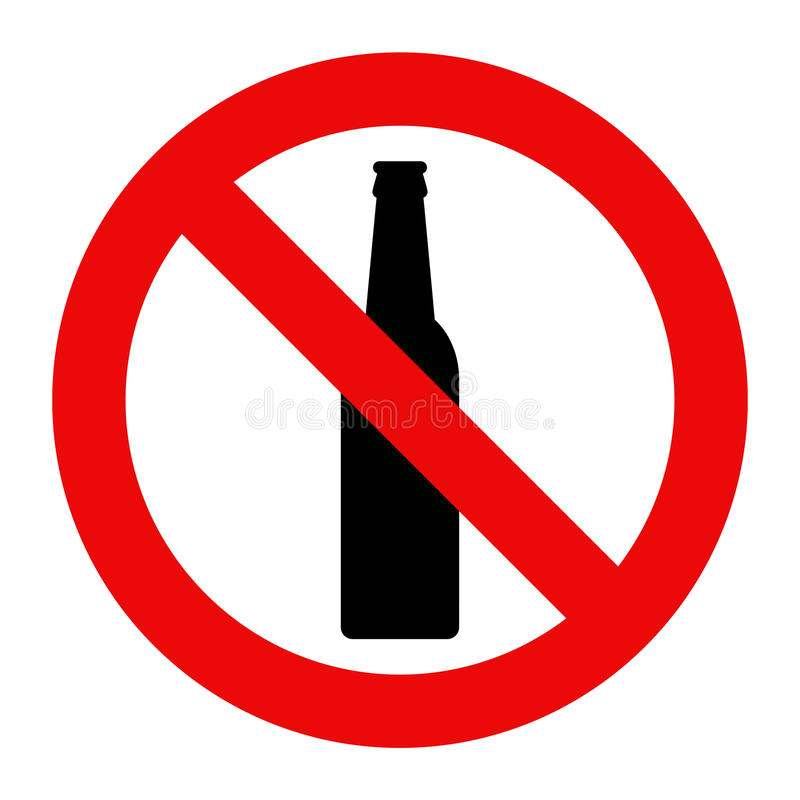 No alcohol sign. Warning sign isolated on white background royalty free illustration