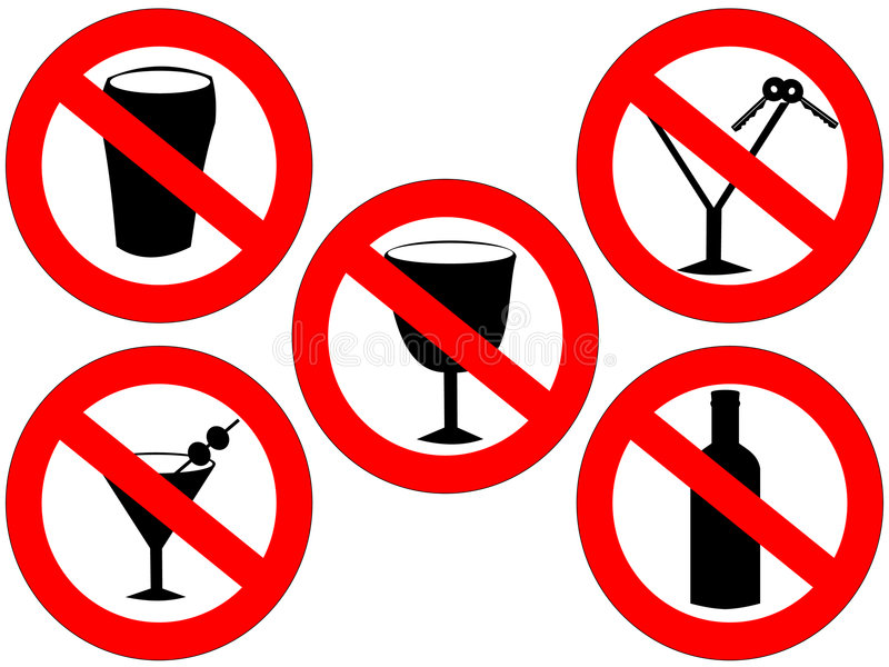 No alcohol signs. No alcohol and drink driving forbidden signs royalty free illustration