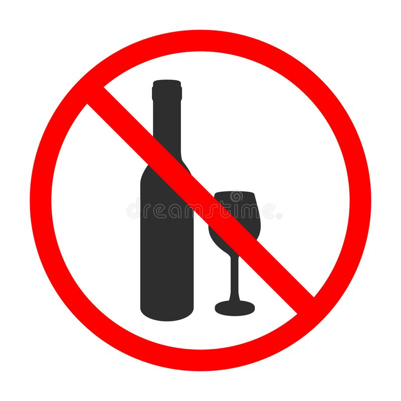 No Alcohol Vector Sign. Isolated Illustration Black Color on White Field. Do not Drink Wine. stock illustration