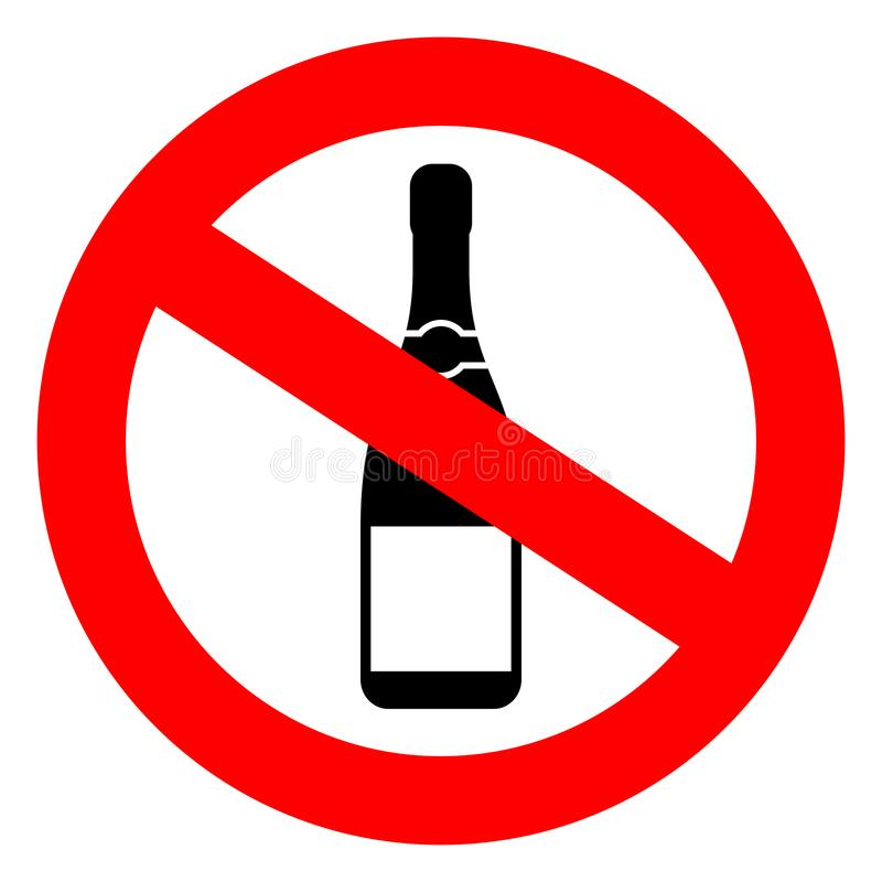 No alcohol vector sign stock illustration
