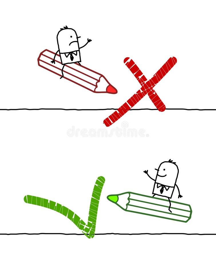 NO. & sinais APROVADOS ilustração stock