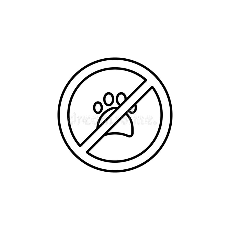 Free No Animals, No Pets, Paw Print, Not Allowed, Prohibition Line Icon On White Back Royalty Free Stock Photo - 170848695