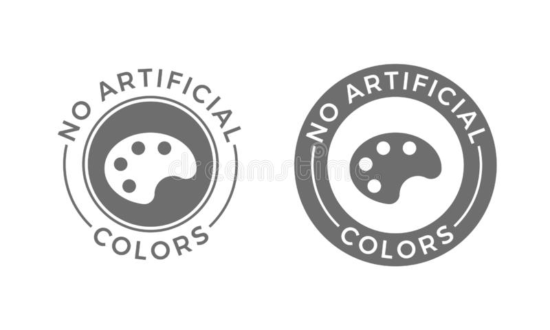 No artificial colors and dyes vector icon for skin and body care cosmetic or food and drink products. Medical safe vector symbol o. F color palette vector illustration