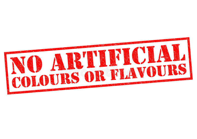 NO ARTIFICIAL COLOURS OF FLAVOURS. NO ARTIFICIAL COLOURS OR FLAVOURS English spelling red Rubber Stamp over a white background royalty free stock image
