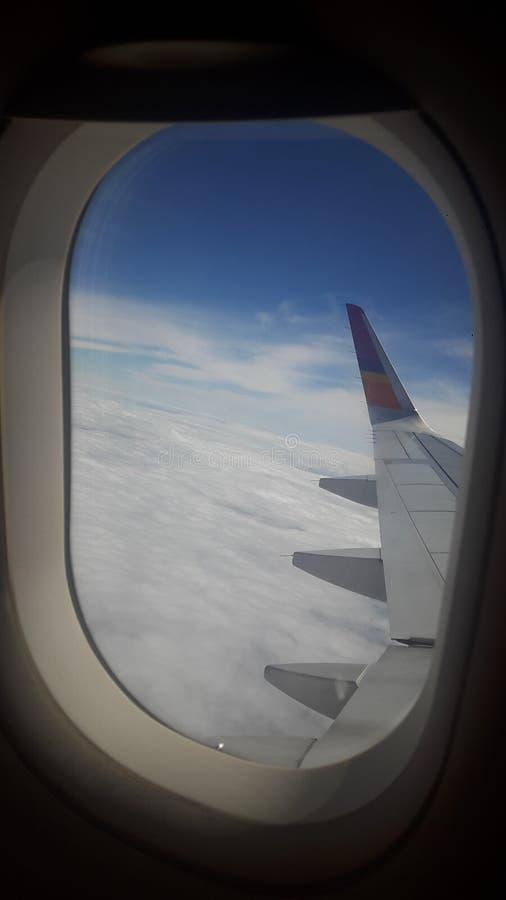 No avião imagem de stock