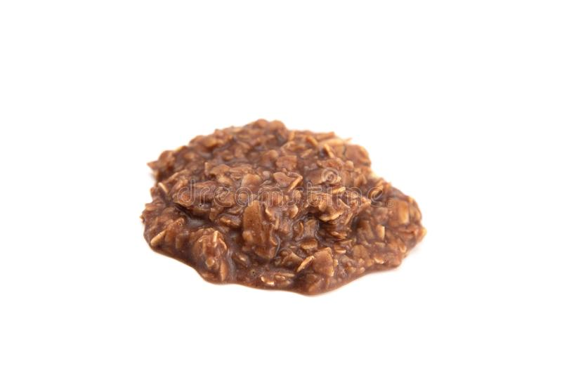 No Bake Chocolate Peanut Butter and Oat Cookies on White Background. No Bake Chocolate Peanut Butter and Oat Cookies stock image