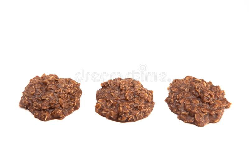 No Bake Chocolate Peanut Butter and Oat Cookies on White Background. No Bake Chocolate Peanut Butter and Oat Cookies royalty free stock image