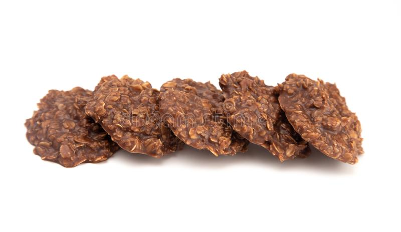 No Bake Chocolate Peanut Butter and Oat Cookies on White Background. No Bake Chocolate Peanut Butter and Oat Cookies stock photo