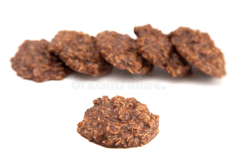No Bake Chocolate Peanut Butter and Oat Cookies on White Background. No Bake Chocolate Peanut Butter and Oat Cookies royalty free stock photo