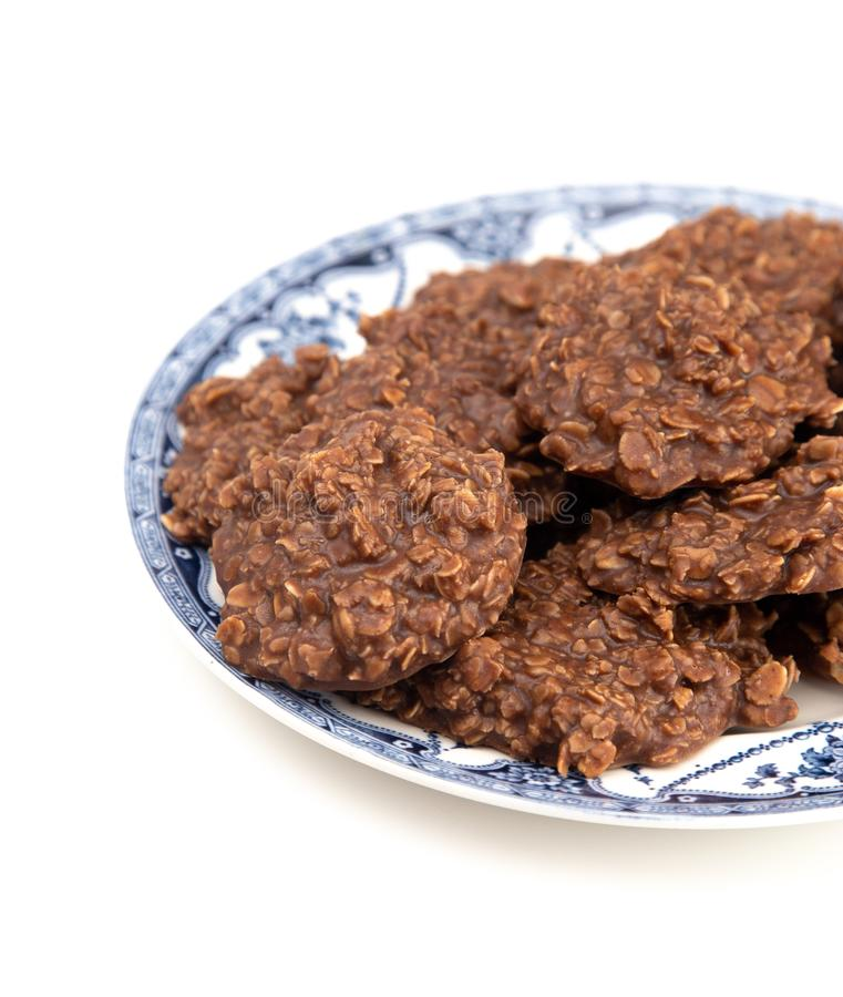 No Bake Chocolate Peanut Butter and Oat Cookies on White Background. No Bake Chocolate Peanut Butter and Oat Cookies royalty free stock photography